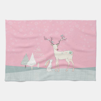 Winter Reindeer and Bunny in Falling Snow Kitchen Towel