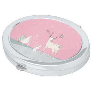 Winter Reindeer and Bunny in Falling Snow Mirrors For Makeup