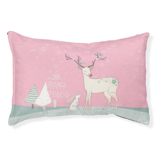 Winter Reindeer and Bunny in Falling Snow Pet Bed