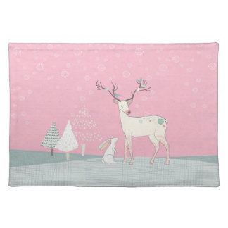 Winter Reindeer and Bunny in Falling Snow Placemat