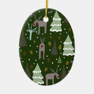Winter Reindeer Ceramic Ornament