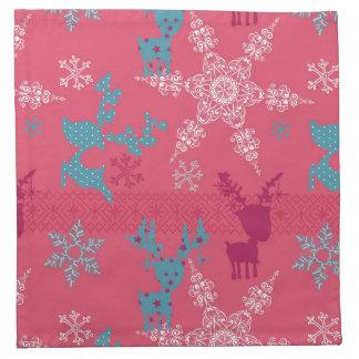 Winter Reindeer Pattern Napkins