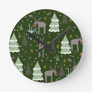 Winter Reindeer Round Clock