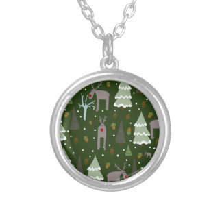 Winter Reindeer Silver Plated Necklace
