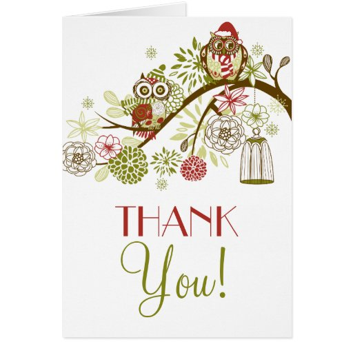 Winter Retro Owls Floral Holiday Thank You Card