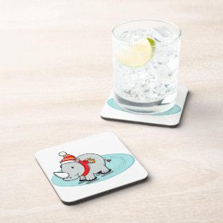 Winter Rhino Ice Skater Drink Coaster
