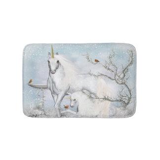 Winter Robins and Unicorns Bath Mats