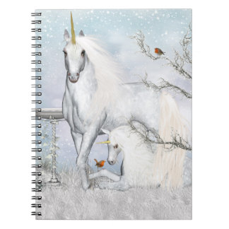 Winter Robins and Unicorns Notebook