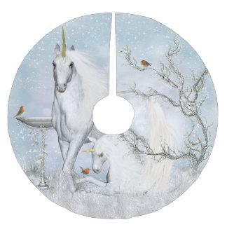 Winter Robins and Unicorns Tree Skirt Brushed Polyester Tree Skirt