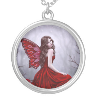 Winter Rose Butterfly Fairy Art Necklace