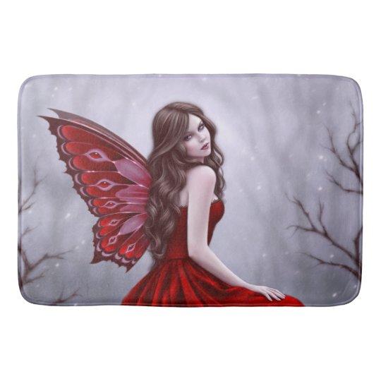 Winter Rose Butterfly Fairy Bath Mat