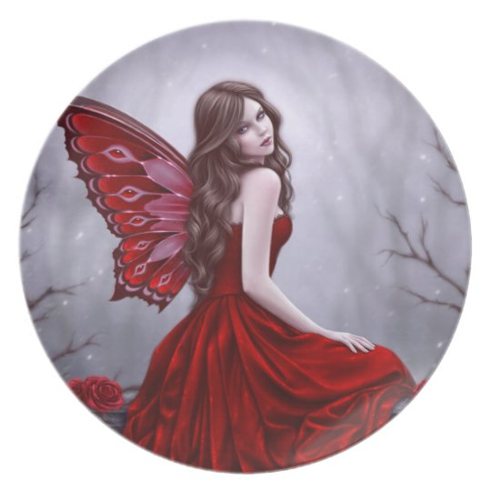 Winter Rose Butterfly Fairy Plate