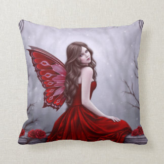 Winter Rose Fairy Pillow Red & Gray