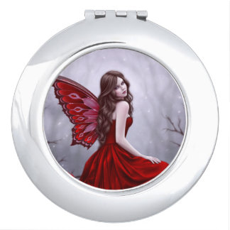 Winter Rose Fairy Round Compact Mirror