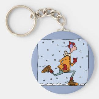winter runner (guy) basic round button keychain