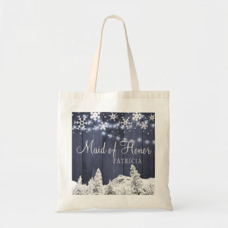Winter rustic country wood wedding maid of honor tote bag