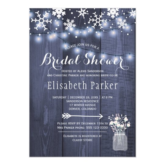 Winter rustic string lights snow bridal shower card