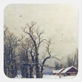 Winter scene, 19th century stickers