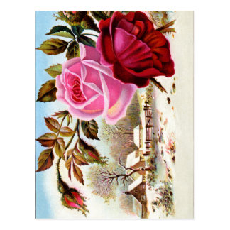 Winter Scene and Flowers Postcard