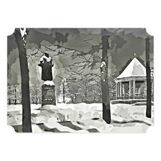 Winter Scene black & white vintage Oslo park card