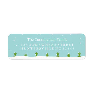Winter Scene Evergreen Trees & Snow Return Address Label
