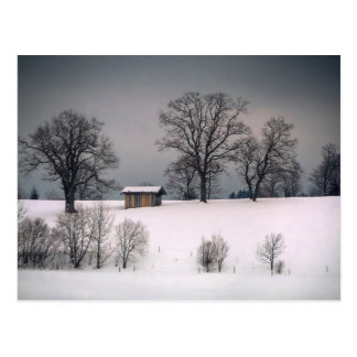 Winter scene, hill and trees, hut postcard