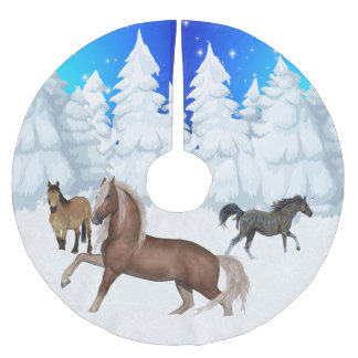 Winter Scene Horses And Snow  Trees Christmas Brushed Polyester Tree Skirt