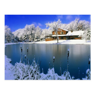 Winter scene, house by the lake postcard