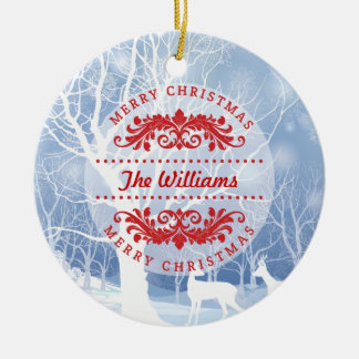 Winter Scene Merry Christmas Family Ornament