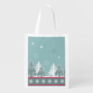 Winter scene reusable grocery bag