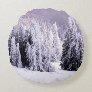Winter scene round pillow