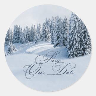 Winter Scene Save the Date Sticker