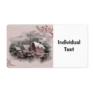 winter scene shipping label