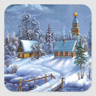 Winter Scene Square Sticker