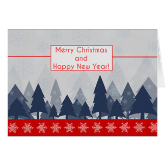 Winter Scene Typography Red & Blue Holiday Card