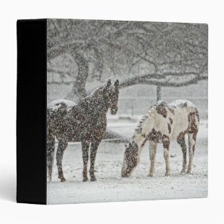 Winter Scene with 2 Horses 3 Ring Binder