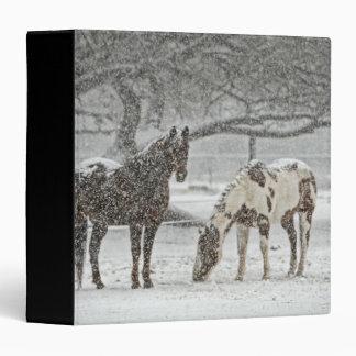 Winter Scene with 2 Horses Vinyl Binder