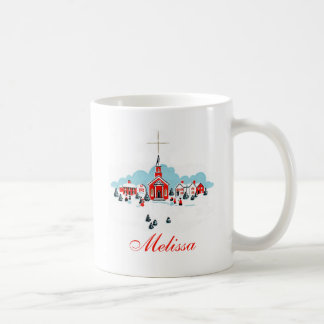 Winter Scene with a Red Church and Christmas Star Coffee Mug