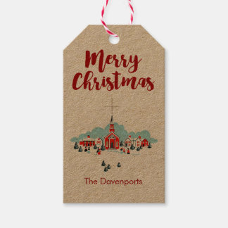 Winter Scene with a Red Church and Christmas Star Gift Tags