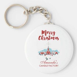 Winter Scene with a Red Church and Christmas Star Keychain
