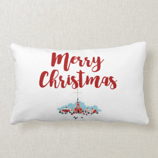 Winter Scene with a Red Church and Christmas Star Lumbar Pillow
