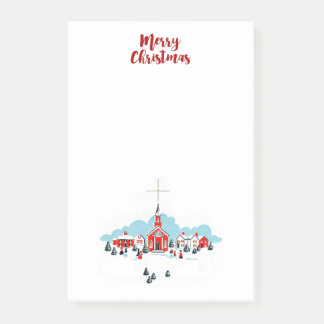 Winter Scene with a Red Church and Christmas Star Post-it Notes