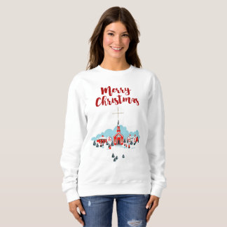 Winter Scene with a Red Church and Christmas Star Sweatshirt