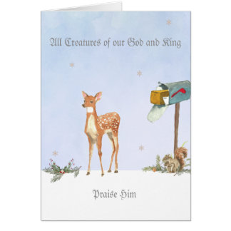 Winter Scene with Deer Religious Card