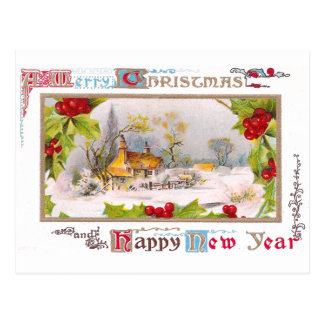 Winter Scene with Holly Surround Postcard