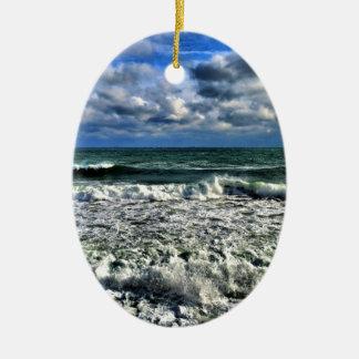 Winter Sea Ceramic Oval Ornament
