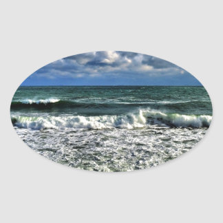 Winter Sea Oval Sticker