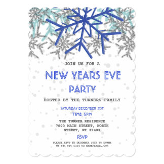 Winter Silver Blue Snowflake NEW YEARS EVE PARTY Card