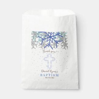 Winter Silver Navy Blue Snowflake Baptism Invite Favour Bag