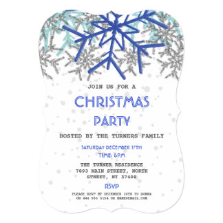 Winter Silver Navy Blue Snowflake CHRISTMAS Party Card